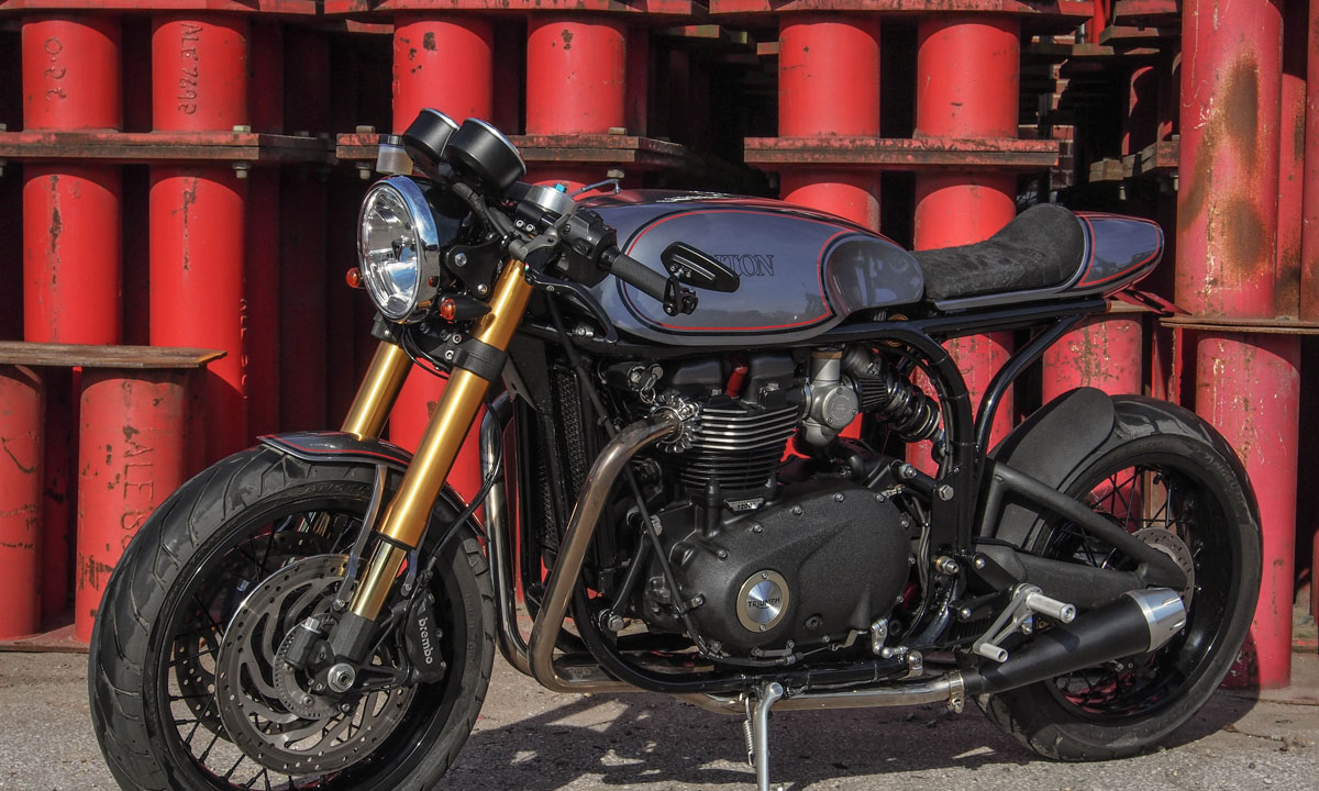 Thruxton featherbed cafe racer
