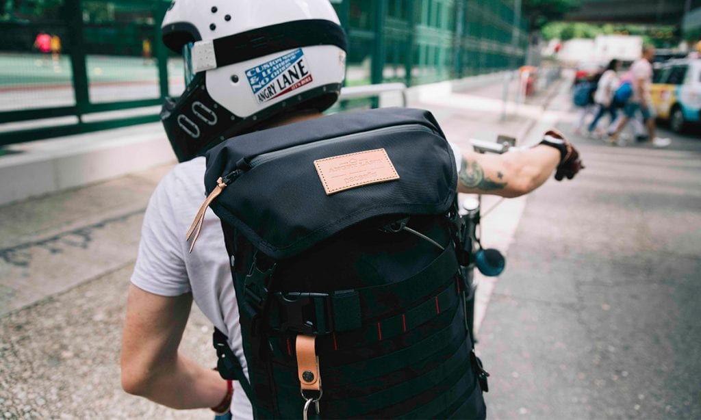 Return of the Cafe Racers - Angry Lane Pacsafe anti theft backpack