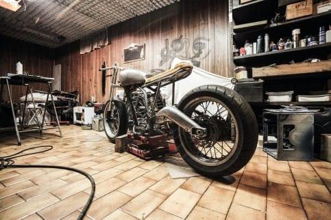 cafe racer in garage